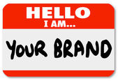 Nametag Hello I am Your Brand Marketing Yourself Networking — Stok fotoğraf