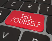 Sell Yourself Computer Keyboard Red Key Promotion Marketing — Stok fotoğraf