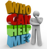 Who Can Help Me Thinker Man Needing Customer Support — Zdjęcie stockowe