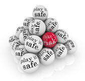 Take a Risk or Play it Safe Pyramid Balls — Stock Photo