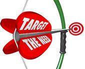Apunta la necesidad de arco y flecha servir clientes quiere — Foto de Stock