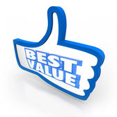 Best Value Thumb's Up Top Rating Score Quality — Stock Photo