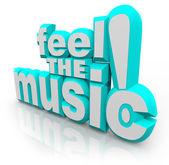 感觉听歌听起来舞的音乐 3d 字 — 图库照片
