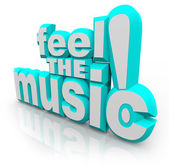 Feel the Music 3D Words Listen Song Sounds Dance — 图库照片