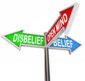 Belief Vs Disbelief Open Mind Faith Three Way Street Road Signs — Stock Photo