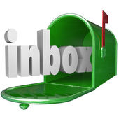 Inbox Word Green Mailbox Incoming Message Email — Stock Photo