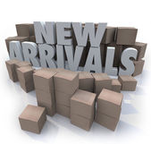 New Arrivals Cardboard Boxes Items Merchandise Products — Stock Photo
