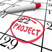 Project Start or Finish Date Circled on Calendar Day — Stock Photo