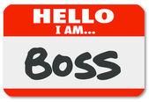 Hallo ben ik baas naamplaatje sticker toezichthouder autoriteit — Stockfoto