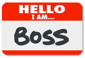 Hello I Am Boss Nametag Sticker Supervisor Authority — Стоковое фото