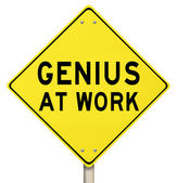 Genius At Work Yellow Road Sign Warning — Stock Photo