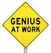 Genius At Work Yellow Road Sign Warning — Stock Photo