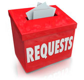 Requests Suggestion Box Wants Desires Submit Ideas — Stock Photo