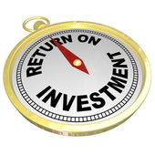 Return on Investment Compass Pointing to ROI Money Choices — Stock Photo