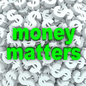 Money Matters Words Dollar Sign Currency Background — Stock Photo