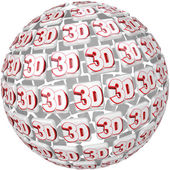 3D Word on Ball Sphere Three Dimensional Effect — Stock Photo