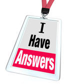 I Have Answers Badge Employee Expert Knowledge Help — Stock Photo