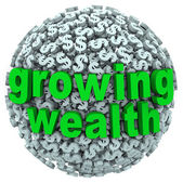 Growing Wealth Words Dollar Sign Ball Earn Income — Stockfoto