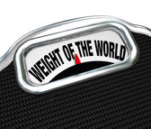 Weight of the World Scale Words Burden Trouble — Stock Photo