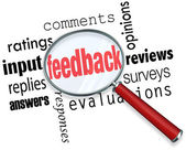 Feedback Magnifying Glass Input Comments Ratings Reviews — Stock Photo