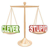 Clever Vs Stupid Words Scale Fine Line Humor Taste — Stock Photo