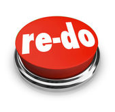 Kırmızı düğmeye yineleme değişikliği gözden geçirme iyileştirme yeniden yapma — Stok fotoğraf