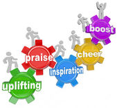 Uplifting Words Team Climbing Gears Praise Cheer Inspiration — Stock Photo
