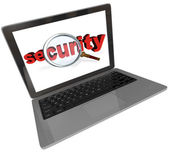 Security Word Magnifying Glass Laptop Computer Screen — Stock Photo