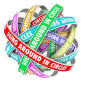 圆饰带上四处圈字πηγαίνοντας γύρω στους κύκλους λέξεις στις κορδέλλες κύκλο — 图库照片