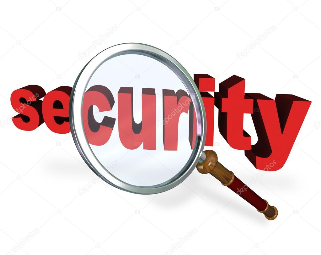 Closeup Of Magnifying Glass On Security Stock Photo ...
