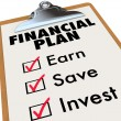 Financial Plan Clipboard Money Saving Strategy Steps — Stock Photo