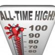 Stock Photo: All-Time High Record Breaker Thermometer Hot Heat Score