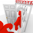 Brave Marching Through Courage Door Fearlessness — Stock Photo #26721557