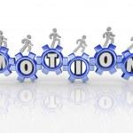 Motion Word Gears Workers Progress Forward — Stock Photo