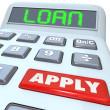 Loan Word Calculator Borrow Money Apply Financing Bank — Stock Photo
