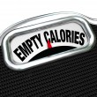 Empty Calories Word Scale Nutritional Vs Fast Food Eating — Stock Photo