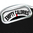 Stock Photo: Empty Calories Word Scale Nutritional Vs Fast Food Eating