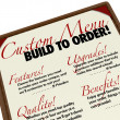 Custom Menu Build to Order Customization Personalization — Stock Photo