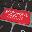 Responsive Design Computer Keyboard Red Key Website Development — Stock Photo