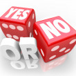 Stock Photo: Yes or No Two Dice Rolling to Decide Accept or Reject