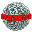 Foto Stock: Organize Your Thoughts Letter Sphere Make Sense from Mess