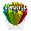 Contact Us Words Starburst Envelope Reach Out Help Support — Stock Photo