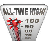 All-Time High Record Breaker Thermometer Hot Heat Score — Stock Photo
