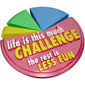 Pie Chart Life This Much Challenge Rest Less Fun — Stock Photo