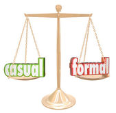Casual Vs Formal Words Scale Informal Relax or Official Black Ti — Stock Photo