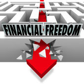 Financial Freedom Break Through Money Problems Bankruptcy Bills — Stock Photo