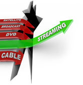 Streaming Beats Satellite Broadcast DVD Cable TV Viewing — Stock Photo
