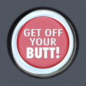 Get Off Your Butt Red Button Physical Activity Exercise — Stock Photo