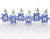 Beweging woord versnellingen werknemers vooruitgang naar voren — Stockfoto