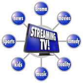 Streaming TV Content Entertainment Programs Movies Sports HDTV — Stock Photo